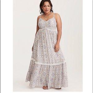 Tile Challis Lace Maxi Dress NWT Sz 1x